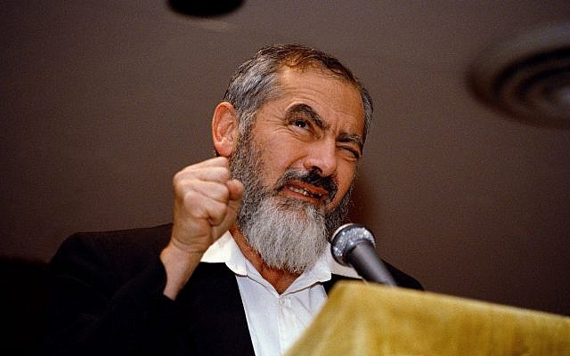 Meir Kahane addresses a gathering at the Silver Springs Jewish Center in Maryland, October 27, 1988. (AP Photo/Doug Mills)