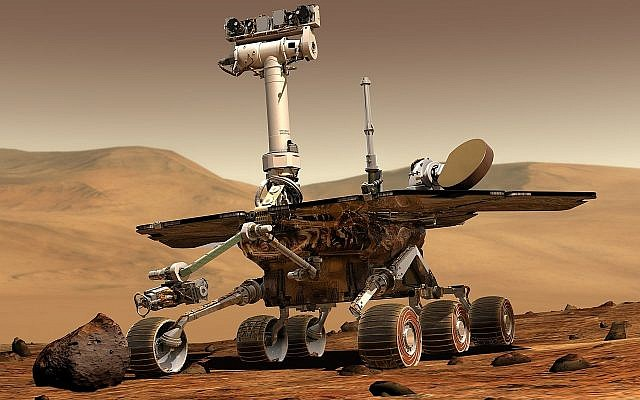 An artist's concept portrays a NASA Mars Exploration Rover on the surface of Mars. Rovers Opportunity and Spirit were launched a few weeks apart in 2003 and landed in January 2004 at two sites on Mars. Each rover was built with the mobility and toolkit to function as a robotic geologist. (NASA/JPL/Cornell University, Maas Digital LLC, public domain)