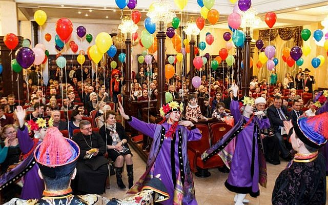 Illustrative. A Purim celebration in the synagogue of Irkutsk. (Dorit Wagner/The Jewish Community of Irkutsk, via The Times of Israel)