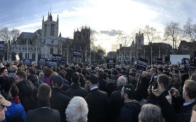 Around 1,500 were estimated to have turned up to say no to antisemitism in Westminster at the Enough is Enough demonstration against antisemitism in March 2019 (Jewish News)