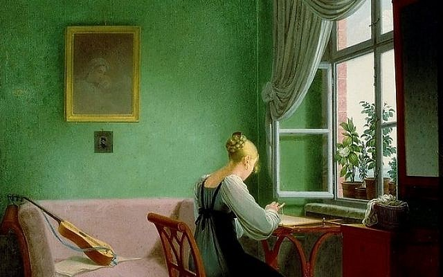 An 1817 painting by Georg Friedrich Kersting of a woman wearing a green dress embroidering in a green room with green curtains. (Public Domain/ Wikimedia Commons)