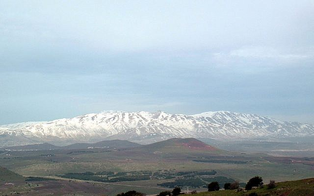 A snowy Mount Hermon as seen from the summit of Mount Bental in the Golan Heights. (Wikimedia Commons)