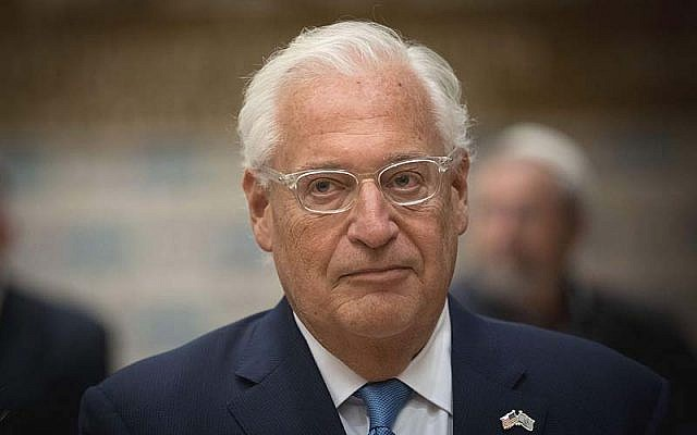 US Ambassador to Israel David M. Friedman. (Yonatan Sindel/Flash90)
