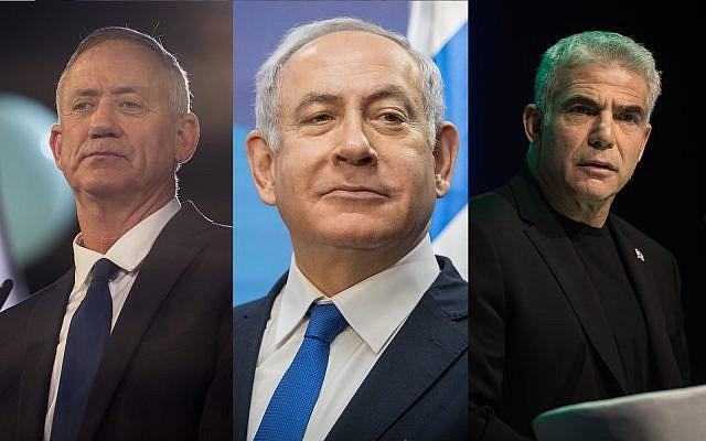Illustrative. Left, Benny Gantz, center, Prime Minister Benjamin Netanyahu, right, Yair Lapid. (Hadas Parush, Noam Revkin Fenton, Hadas Parush/ Flash90)