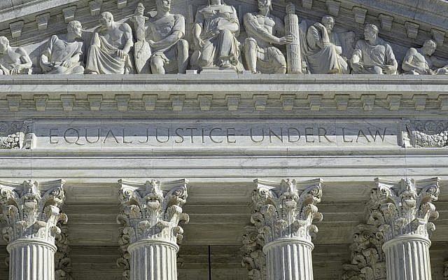 Detailed view of the front of the Supreme Court in Washington, DC. (iStock)