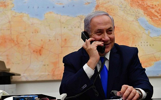 Prime Minister Benjamin Netanyahu speaks with US President Donald Trump on the phone after the American leader said it was time for Washington to recognize Israeli sovereignty over the Golan Heights, March 21, 2019 (Kobi Gideon/GPO)