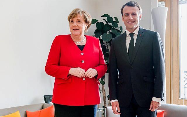 French President Emmanuel Macron and German Chancellor Angela Merkel meet on the sidelines of an EU summit in Brussels, Belgium March 21, 2019. Geert Vanden Wijngaert/Pool via Reuters