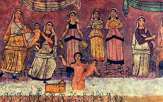 Illustrative. Dura Europos fresco: Moses from river, from c. 244-255 CE. (Wikipedia)