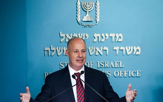 Communications Minister Tzachi Hanegbi speaks at a stamp issuance for Etzel fighters at the Prime Minister office in Jerusalem on May 17, 2017. (Marc Israel Sellem/POOL)