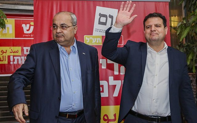 Illustrative. Ayman Odeh and Ahmad Tibi launch the campaign for their joint party Hadash-Ta'al, ahead of the Knesset elections, on March 13, 2019. (Flash90)