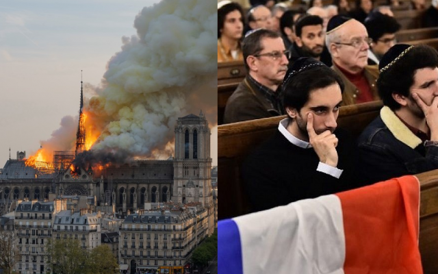 (L) Smoke billows as flames burn through the roof of the Notre-Dame de Paris Cathedral on April 15, 2019, in the French capital Paris. (Fabien Barrau / AFP) / (R) People sit near a French flag as they attend a ceremony for the victims of a series of deadly attacks at the Grande synagogue de la Victoire on November 15, 2015. (Loic Venance/AFP)