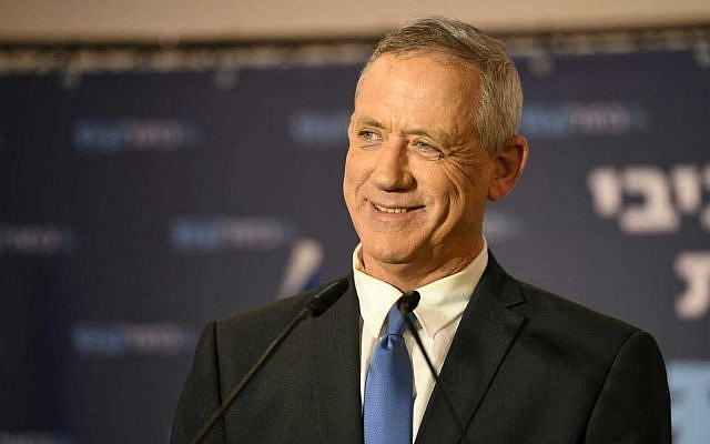 Blue and White leader Benny Gantz speaks in Tel Aviv on March 31, 2019 (Saria Diamant/ Blue and White)