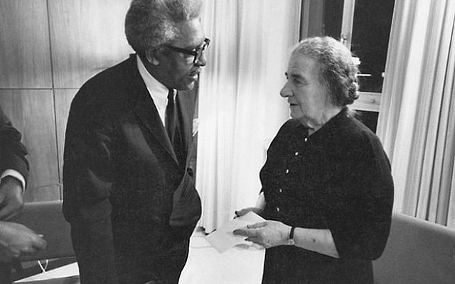 Meeting with Golda Meir, Prime Minister of Israel, 1976. Courtesy Bayard Rustin Estate
