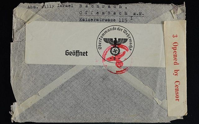 The back of the envelope which enclosed my grandfather's last letter.  Note the swastika and the stamp of the censor.