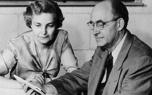 The Italian physicist Enrico Fermi, sitting with his wife Laura Capon in his office at the Institute for Nuclear Studies, Los Alamos, 1954. The family left Europe for America to escape the impact of pre-World War II anti-Semitisim. (Wikipedia)