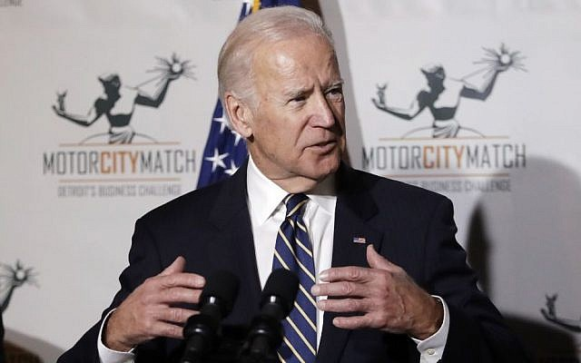 Illustrative. Then-US Vice President Joe Biden gestures while speaking at a ceremony honoring 15 Detroit entrepreneurs, January 10, 2017, in Detroit. (AP Photo/Carlos Osorio)