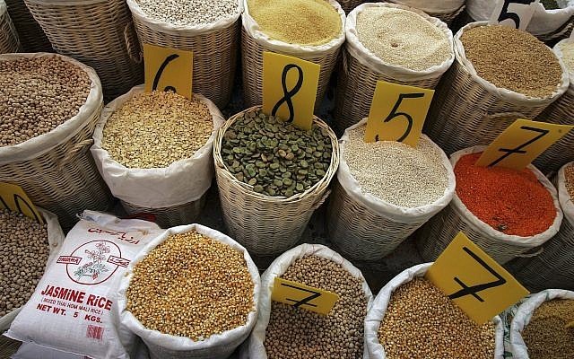 Rice, lentils, chickpeas, beans and other legumes, shown in a produce market in Netanya, Israel. (David Silverman/Getty Images)