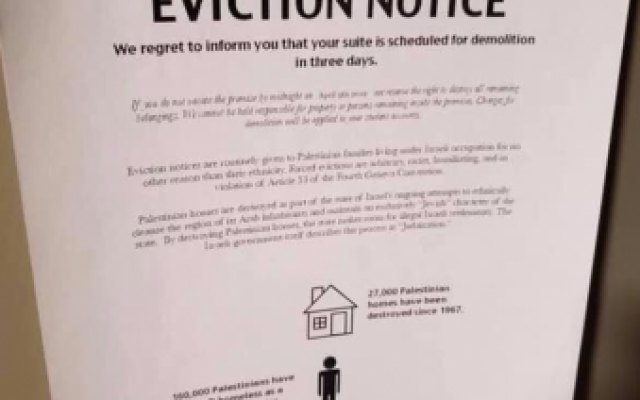 Screenshot from Twitter of mock eviction notice posted on Emory students' dorm room doors. (via Atlanta Jewish Times)