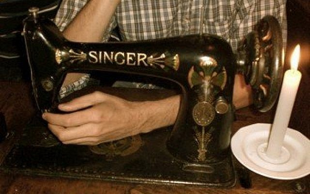 A sewing machine table in Krakow's Singer bar.