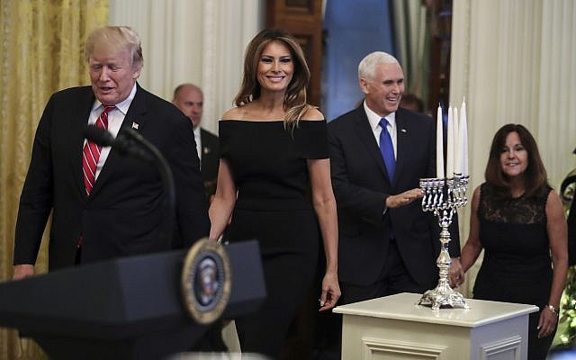 President Donald Trump, first lady Melania Trump, Vice President Mike Pence and his wife, Karen, attend a Hanukkah reception at the White House, Dec. 6, 2018. (Oliver Contreras-Pool/Getty Images)