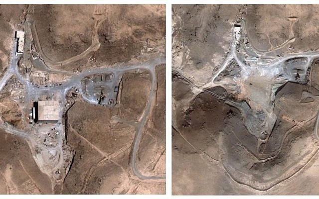 Before and after satellite images of the Syrian nuclear reactor at al-Kibar, which was struck by Israel in 2007 (AP/DigitalGlobe)