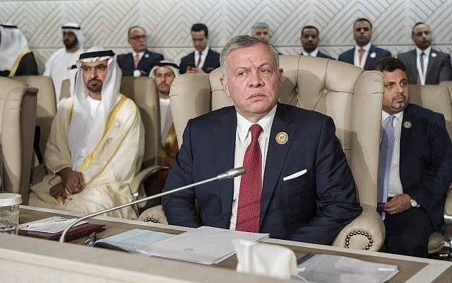 Jordan's King Abdullah II attends the opening of the 30th Arab Summit in Tunis, Tunisia, Sunday, March 31, 2019. (Fethi Belaid/ Pool photo via AP)