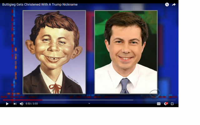 "Donald J. Trump has now nicknamed Pete Buttigieg  ""Alfred E. Neuman"" (1954), the fictitious mascot and cover boy of the American humor magazine Mad. Well, as the old saying goes: ""He who laughs last has probably the least sense of humor."" Image screenshot from The Late Show with Stephen Colbert, https://www.youtube.com/watch?v=iK-nkOlt6qo"