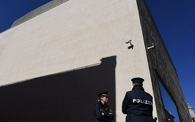 Two police officers stand guard in front of the new Regensburg Synagogue in Germany, Feb. 27, 2019. (Andreas Gebert/Getty Images)