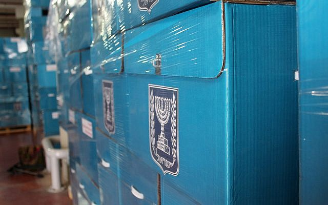 Illustrative. Ballot boxes at the Central Election Committee to be sent to polling stations ahead of election day, March 6, 2019. (Raoul Wootliff/Times of Israel)