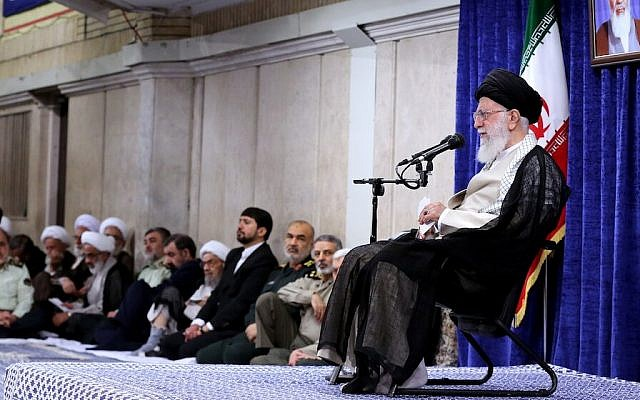 Iranian Supreme Leader Ayatollah Ali Khamenei, right, meets with Iranian government officials, in Tehran, on May 14, 2019. (Khamenei's official website)
