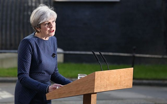 Theresa May speaking outside Number 10 Downing Street. (Jewish News)