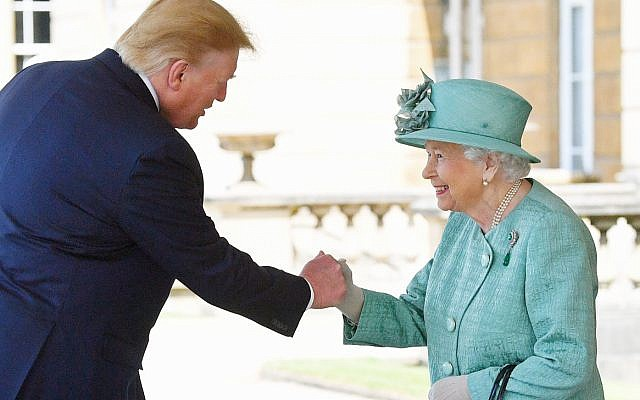 Queen Elizabeth II greets US President Donald Trump as he arrives for the Ceremonial Welcome at Buckingham Palace, London, on day one of his three day state visit to the UK. (Photo credit: Victoria Jones/PA Wire via Jewish News)