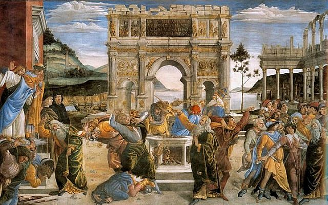 The Punishment of the Rebels is a fresco by Sandro Botticelli, the Sistine Chapel, Rome. On the right, the rebels attempt to stone Moses, Joshua protecting him. The center shows Korah and conspirators being driven out by Moses and Aaron. To the left, the ground opens and the two principal conspirators sink into it -- from Wikipedia.