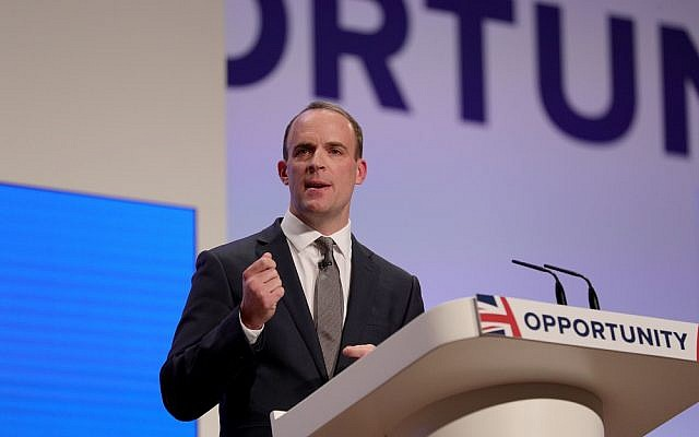 Dominic Raab addressing the Tory party conference (Jewish News)
