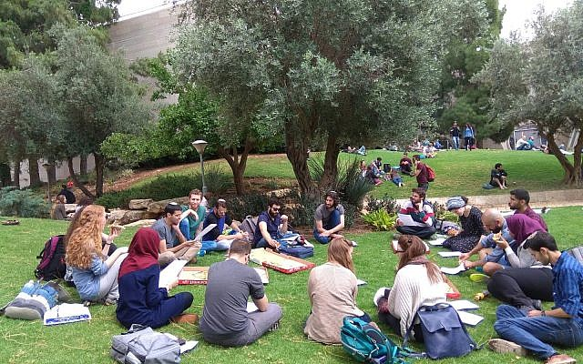 Illustrative. 'Madrasah' Open discussion days between Arab and Jewish students at Hebrew University in Spring, 2017. Organized by the Center for the Study of Multiculturalism and Diversity and HUJI Student Union (Courtesy of Center).