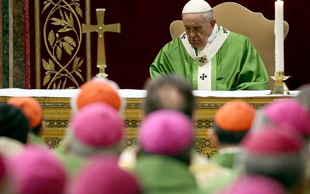 Pope Francis, flanked by cardinals and bishops, attends a closing Mass of The Protection of Minors in the Church meeting in Vatican City, February 24, 2019. (Franco Origlia/Getty Images)