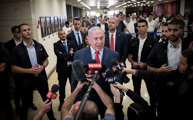 Bibi Netanyahu speaks to the press. (BICOM/Jewish News)
