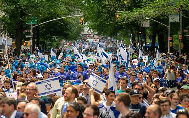 People participate in the annual Celebrate Israel Parade, on June 2, 2019, in New York City. (David Dee Delgado/Getty Images/AFP)