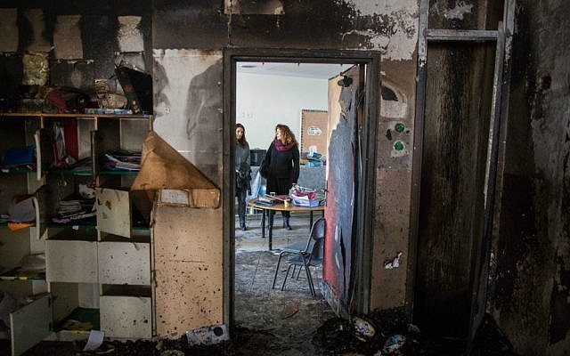 Inside the Max Rayne Hand In Hand Jerusalem School, an Arab-Jewish school that was vandalized on November 28, 2014. (Yonatan Sindel/Flash90/JTA)