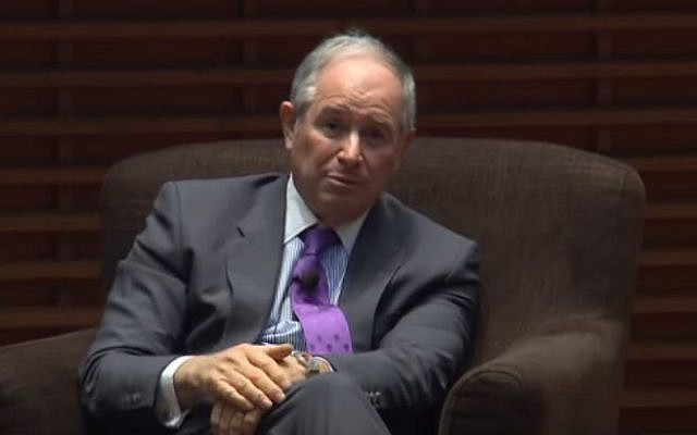 Stephen Schwarzman speaking to Oxford students in 2016 (Credit: YouTube via Jewish News)