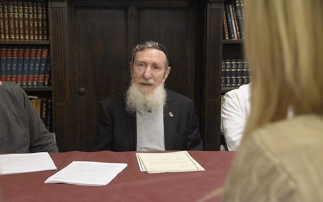 Rabbi Daniel Sperber, presiding over an independent (non-state) Orthodox rabbinic court. (Nurit Jacobs Yinon. courtesy Center for Women's Justice)