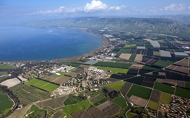 The Sea of Galilee, also Kinneret, Lake of Gennesaret, or Lake Tiberias, is the largest freshwater lake in Israel, and it is approximately 53 km (33 mi) in circumference, about 21 km (13 mi) long, and 13 km (8.1 mi) wide. The lake has a total area of 166 km2 (64 sq mi), and a maximum depth of approximately 43 m (141 feet). At 211.315 metres (693.29 ft) below sea level, it is the lowest freshwater lake on Earth and the second-lowest lake overall (after the Dead Sea, a saltwater lake). The lake is fed partly by underground springs although its main source is the Jordan River which flows through it from north to south. The picture shows an aerial view of the southern part of the lake. Photo by Itamar Grinberg.