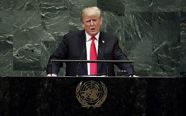 President Donald Trump addresses the United Nations General Assembly. (Sept2018. AP Photo/Richard Drew via Jewish News)