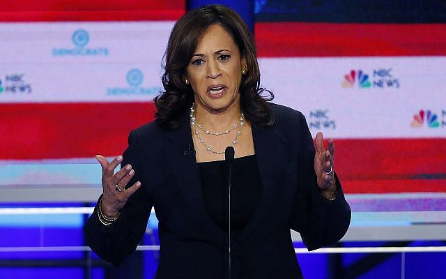Democratic presidential candidate Senator Kamala Harris of California speaks during the Democratic primary debate at the Adrienne Arsht Center for the Performing Art, June 27, 2019, in Miami. (AP Photo/Wilfredo Lee)