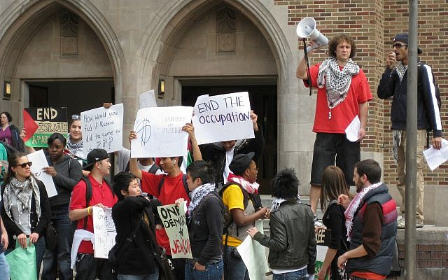 Anti-Israel demonstration at the University of Washington, Seattle. (Photo: Nevet Basker)
