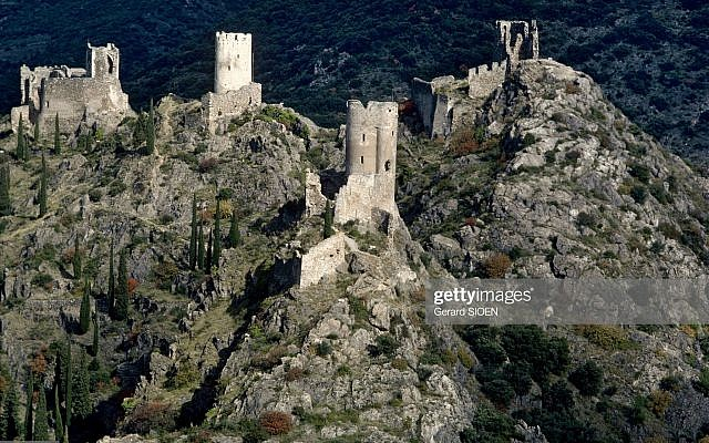FRANCE - CIRCA 1900:  Cathar country: The four castles of Lastours in France - In front, Quertinheux, then from right to left: Surdespine or Fleur.Espine, Tour Regine and Cabaret (Auie).   (Photo by Gerard SIOEN/Gamma-Rapho via Getty Images)