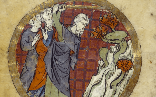 Illuminated Bible, miniature of Moses hitting the rock in the desert to bring forth water with two Israelites behind his back. 13th century, France.