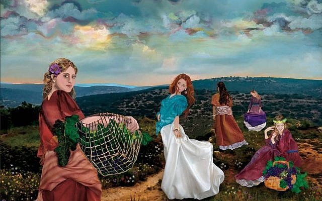 The Daughters of Tzelafchad, by Yael Harris Resnick Art. Giclee canvas prints available. (via Facebook)