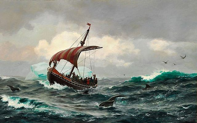 Summer on the Greenland coast, circa year 1000, by Carl Rasmussen. (Wikipedia)