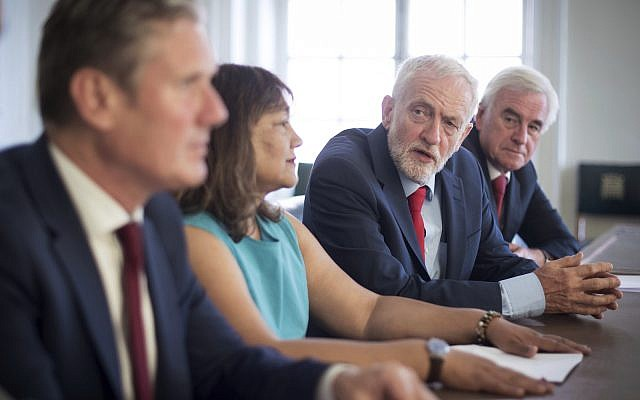 UK Labour Party leader Jeremy Corbyn confers with fellow opposition leaders prior to meeting with senior MPs from across all parties to discuss stopping a no-deal Brexit, Tuesday August 27, 2019. See PA (Stefan Rousseau/PA Wire)